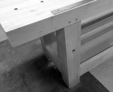 Completed pins installed through leg tenons