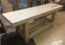 July 2017 - Bench top mated to undercarriage. Recesses created for tail vice hardware.